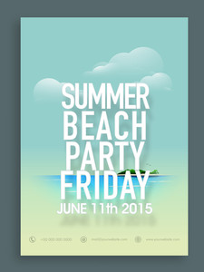 Beautiful Summer Beach Party flyer or invitation card design in blue color.