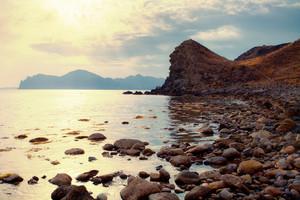 Beautiful sunrise over a rocky coast