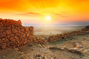 Beautiful sunrise over Masada fortress in Judaean Desert