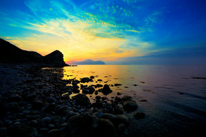 Beautiful sunset over a rocky coast in Crimea