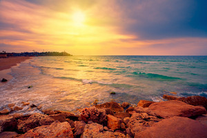 Beautiful sunset over sea in Tel Aviv-Jaffa