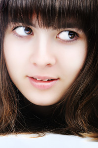 Beautiful teenager girl, closeup, face, look at side