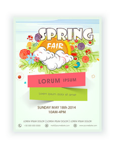 Beautiful template banner or flyer design for Spring Fair decorated with colorful flowers.