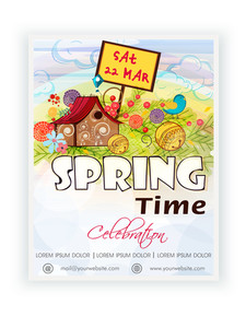 Beautiful template banner or flyer design for Spring Time celebration.