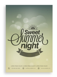 Beautiful template banner or flyer design for Sweet Summer Night party.