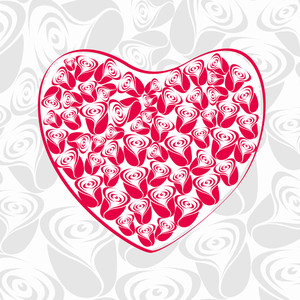 Beautiful Valentines Heart From Roses . Vector Illustration.