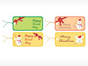 Beautiful Vector Christmas Tags Set 2
