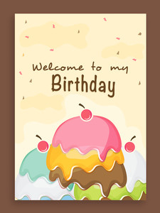 Beautiful vintage invitation card design for Birthday Party celebration decorated with colorful cake.