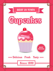 Beautiful vintage menu card design for delicious fresh cupcakes.
