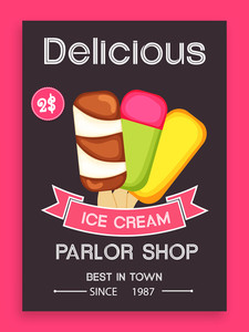 Beautiful vintage menu card design for delicious Ice Cream.Menu card design for ice cream.