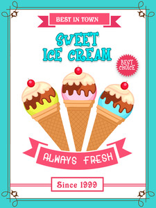 Beautiful vintage menu card design for sweet Ice Cream with different flavours.Menu card design for ice cream.