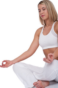Beautiful woman in yoga position on white background