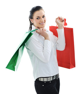 Beautiful young female with shopping bags
