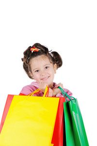 Beautiful young girl with shopping bags