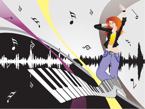 Beautifull Female Silhouette Dancing On Music Background_12