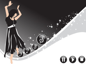 Beautifull Female Silhouette Dancing On Music Background_25