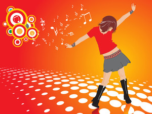 Beautifull Female Silhouette Dancing On Music Background_27
