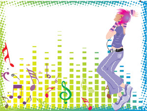 Beautifull Female Silhouette Dancing On Music Background_2