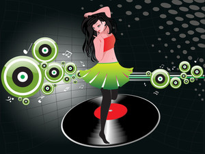 Beautifull Female Silhouette Dancing On Music Background_30