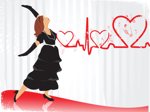 Beautifull Female Silhouette Dancing On Music Background_39