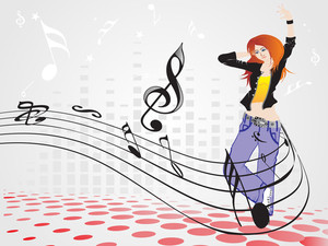 Beautifull Female Silhouette Dancing On Music Background_4