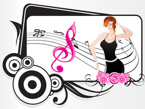Beautifull Female Silhouette Dancing On Music Background_8