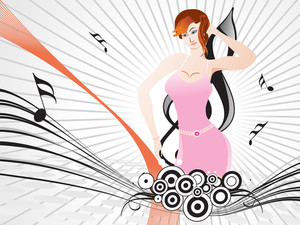Beautifull Female Silhouette Dancing On Music Background_9