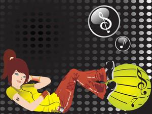 Beautifull Girl Listening Music On Spotted Black Background