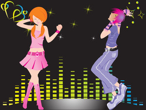 Beautifull Silhouette Of Dancing Couple On Music Background_1