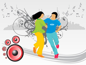 Beautifull Silhouette Of Dancing Couple On Music Background_2