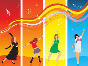Beautifull Silhouettes In Dancing Pose On Disco Background