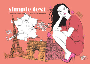 Beautuful Girl In Sketch-style On A French-backgrond. Vector Illustration.