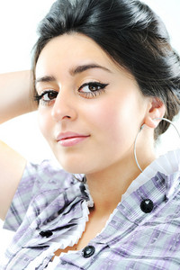 Beauty brunette girl with beautiful black hair