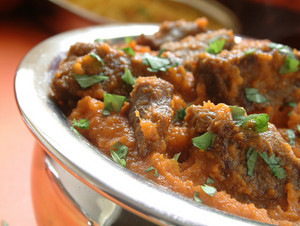 Beef Madras Curry In Metal Bowl
