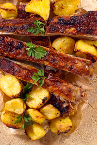 Beef Ribs And Baked Potatoes