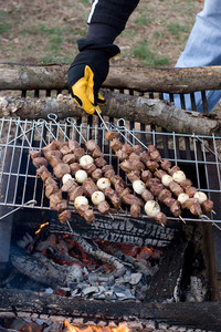 Beef shish kebab skewers cooking over a hot camp fire.