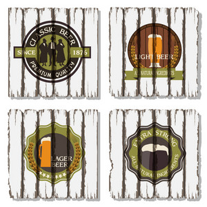 Beer Badges And Labels On Wooden  Background