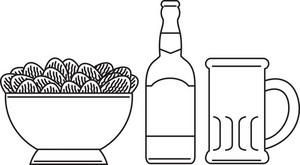Beer Bottle Mug Bowl Potato Chips