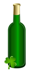 Beer Bottle With Shamrock