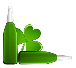 Beer Bottles With Shamrock