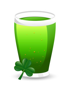 Beer Glass With Shamrock Vector