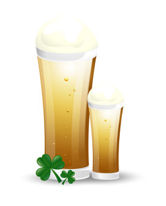 Beer Glasses With Shamrock Leaves