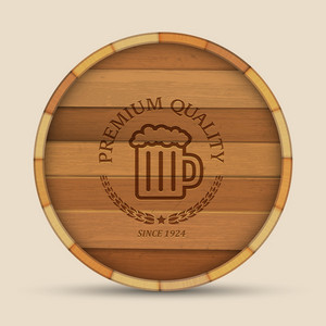 Beer Label In Form Wooden Barrel