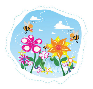 Bees In Flowers Vector Illustration