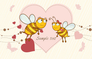Bees In Love Vector Illustration
