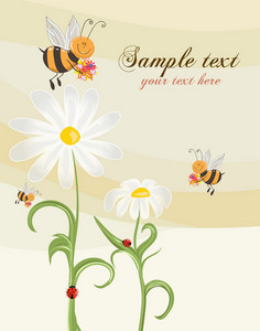 Bees With Floral Vector Illustration