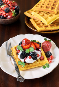 Belgian Waffles And Berry Fruits