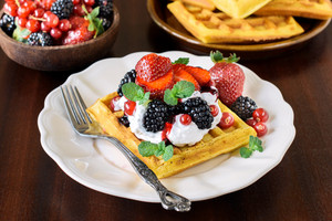 Belgian Waffles On The Plate