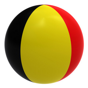 Belgium Flag On The Ball Isolated On White.