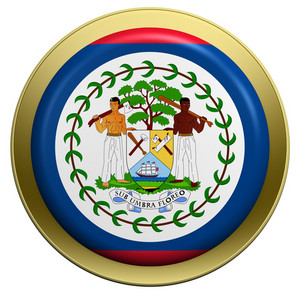 Belize Flag On The Round Button Isolated On White.